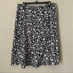 Christopher & Banks Black White Midi Skirt 12